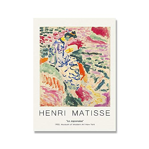 Conjunto de pintura de lienzo de flores de Henri Matisse, carteles e impresiones retro, pintura abstracta, lienzo sin marco familiar, pintura B 50x70cm