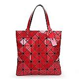 XYAZ Tendencia de moda para mujer bolso de hombro geométrico con costura de cubo de bolso plegable geométrico,rojo