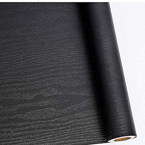 Ice-Beaut Papel Pintado Autoadhesivo de Grano de Papel de Madera Negro Película de Vinilo Impermeable para encimeras de Cocina Decorativas