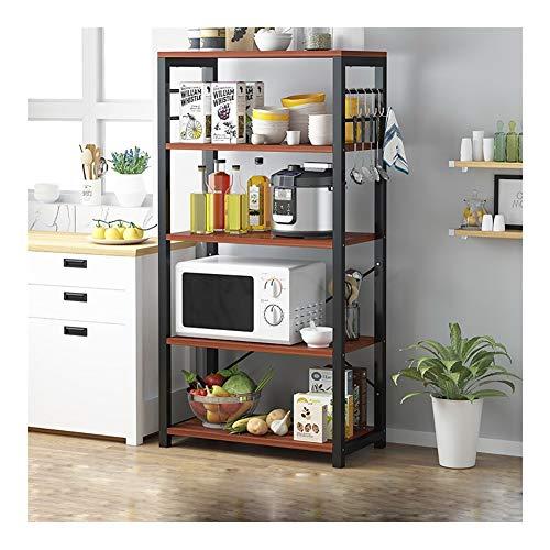 Multi-Layer Magnetron Rack, Keuken rekken, Floor Multi-Layer Storage Rack, Slaapkamer Woonkamer Planken Bookshelf, Deur van het Huis schoenenrek (Color : Black)