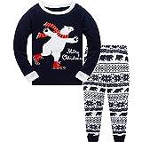 Little Boys Girls Christmas Pajamas Sets Deer Dinosaur Sleepwear 100% Cotton Pjs 2 Piece Toddler Clothes Kids 3-10T (7 Years, Bear-Blue)