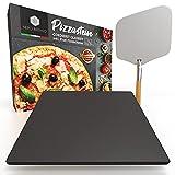 Nero Intenso® Pizzastein inkl. Profi Pizzaschieber für Backofen & Gasgrill | Cordierit glasiert Antihaft | Italienischer Genuss für zu Hause