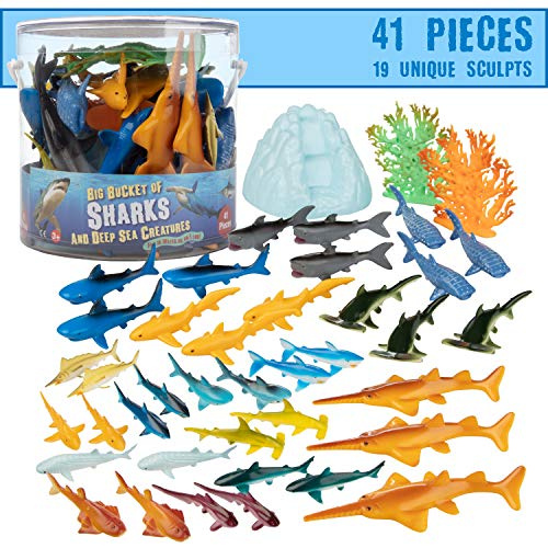 Sharks Toys Action Figure Bucket - 41 Piece Playset  15 Unique Sculpts w Toy Great White Shark  Hammerhead  Whale & More  Fun Deep Sea Fish Set