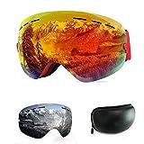 WLZP Maschera da Sci, Grande Sferica Senza Cornice con Doppie Lenti intercambiali,Occhiali da Snowboard Anti-UV Protezione UV400 Strato Anti-Nebbia Anti-Vento Protezione Occhiali Sci
