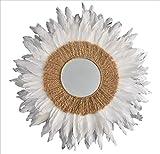 Juju Hat - Blanco Plumas Espejo y Yute - 70 cm - Decoración Pared