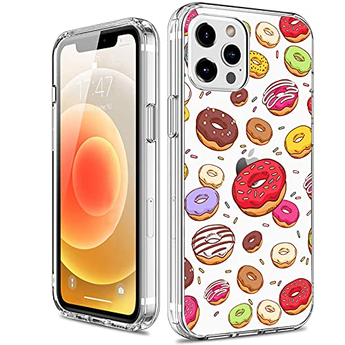 KILIKALA Donuts Pattern Designed for iPhone 12 Pro Max Clear Case, Soft & Flexible TPU Phone Cover with Sweet Food Pattern, Slim and Thin Shockproof Protective Case for Women Girls