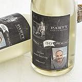 sendmoments Flaschenetiketten, Fähnchen, Aufkleber, Sektetiketten, selbstklebend, personalisiert mit Text & Foto zum Geburtstag, Label für Flaschen, als Geschenk, Hochformat, ab 10 Stück
