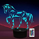 Regalos de caballo, lámpara de ilusión de luz nocturna de caballo 3d para niños, regalos de amante de los caballos a partir para niñas niños hombres mujeres - 16 colores