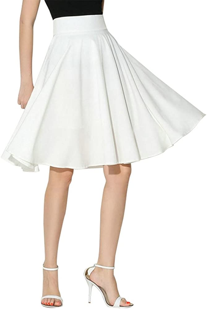 Leyorie Women Vintage Flared Skirt Ladies Solid Elegant Pleated Skirt Casual Flowy Multi-Color Optional