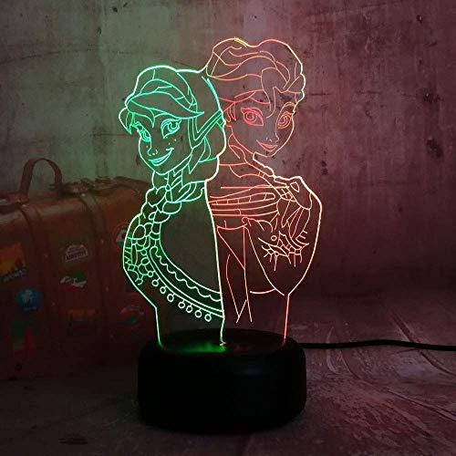 Princess Luz de noche 3D para niños, niñas, regalo, lámpara de ilusión 3D para dormitorio al lado de la mesa, lámpara de mesa de escritorio con 16 colores cambiantes, regalo para niños