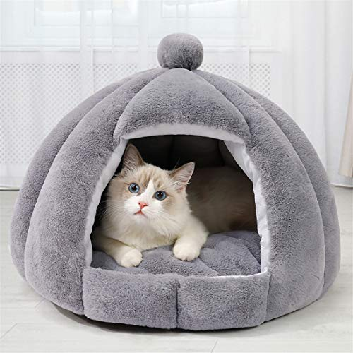 Ellaucci Cama iglú para gatos y perros, 40 x 50 cm, 2 en 1, para gatos y gatos, con cojín extraíble lavable, camas de microfibra para interiores y exteriores, color gris claro