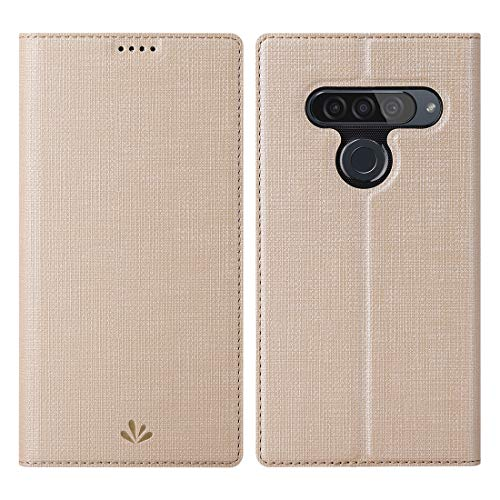 Eastcoo LG G8s ThinQ Hülle,LG G8s ThinQ Wallet Handyhülle PU Leder Flip Hülle Tasche Cover Schutzhülle mit [Standfunktion][Magnetic Closure][Card Slots] für LG G8s ThinQ Smartphone,Gold