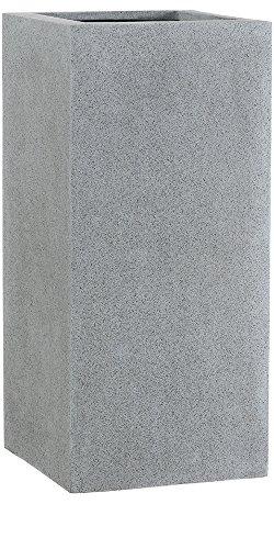 Esteras 8520533487 Blumenkübel rechteckig für den Garten, 37 x 37 x 87 cm, Fiberglas, Grau, Weert