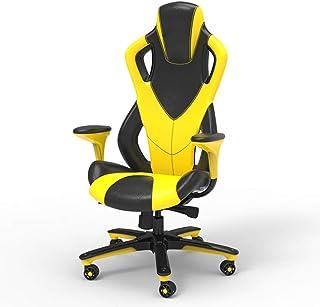 Silla De Escritorio Gamer Profesional, Silla de videojuego con respaldo alto de estilo racing, silla de jugador con reposabrazos y soporte lumbar, silla ergonómica ajustable en altura, amarillo