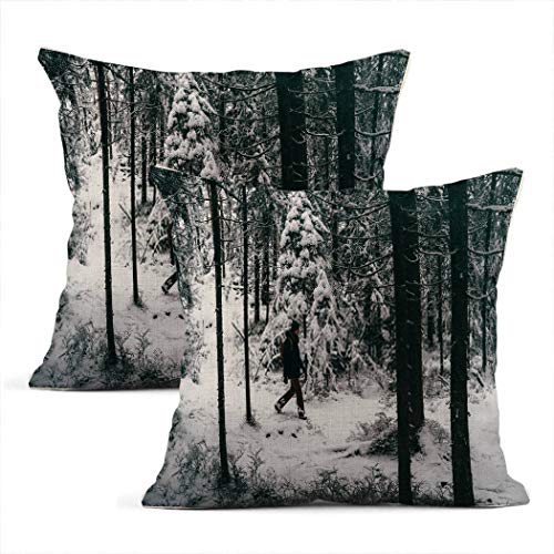 Zynii Pillowcase From Afar Male Tourist Walking in Winter Forest Decorate Your Room and Living Room to Bring You Comfort as a Present