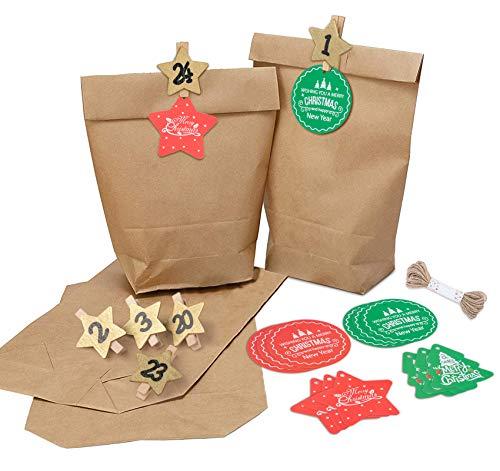 Sweelov Kraftpapiertüten Adventskalender zum Befüllen Weihnachten Geschenktüten zum Basteln, 17x26cm, inkl. 24 Stern Klammern/24 Weihnachten Etiketten Tags/10M Hanfseil