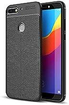 جراب لهاتف Huawei Honor 7C / Y7 prime 2018 من الجلد المطاطي بنمط ليتشي ناعم TPU مقاوم للصدمات