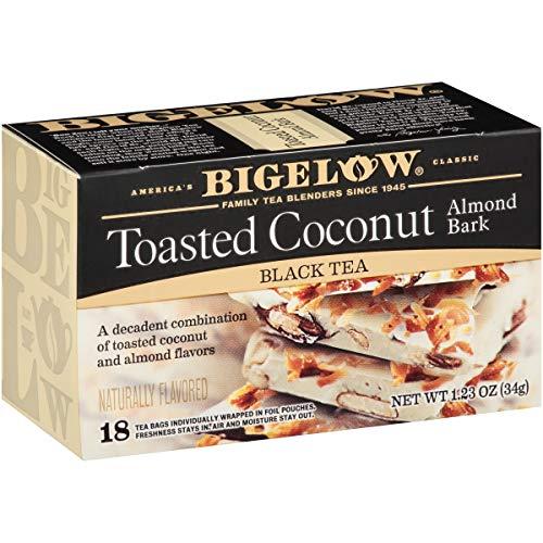 Bigelow Tea Toasted Coconut Almond Bark, Black Tea Bags, 18 Count Box (Pack of 6), Caffeinated Black Tea, 108 Tea Bags Total