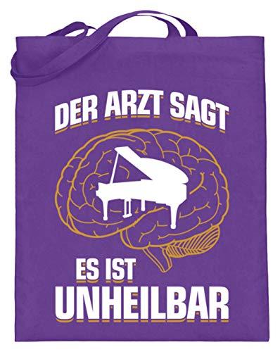 shirt-o-magic Klavier: .es ist unheilbar - Jutebeutel (mit langen Henkeln) -38cm-42cm-Violett
