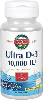 KAL Ultra Vitamin D-3 10,000 IU | Liquid-Fill ActivGels | Healthy Immune System & Bone Support, Soy Free, 90ct, 90 Serv.