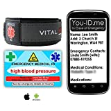 Juego de pulsera de identidad de emergencia con tarjeta de presión arterial alta