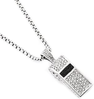 MCSAYS Stainless Steel Whistle Pendant with Diamond Necklace Crystal Necklace Round Box Chain Unisex