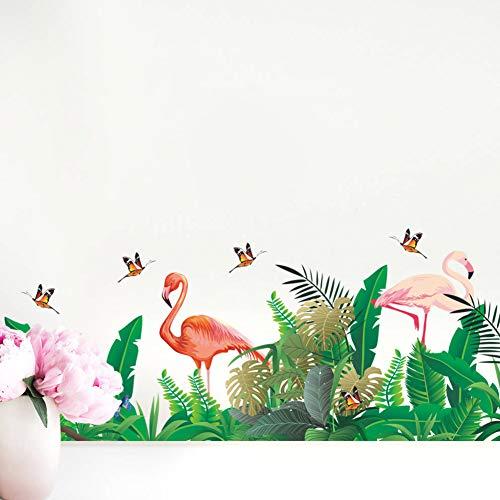 Runtoo Pegatinas de Pared Plantas Tropicales Hojas Stickers Adhesivos Vinilo Flamenco Decorativas Infantiles Habitacion Bebe