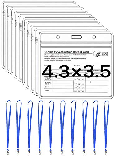 10 Pack Vaccination Card Protector 4X3 in Immunization Record Vaccine Card Holders Horizontal Badge ID Name Tag Clear PVC Sleeve Waterproof Pouch Resealable Zip 10 Lanyard Slots for Events Travel