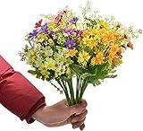 Iceblueor, 6 fiori artificiali in finta seta, margherite, fiori di campo, piante vegetali, cespugli di plastica, per interni e esterni