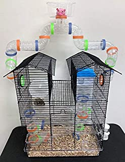 Large Fun Land Clear Transparent Tunnels Tubes with Top Tower Watcher for Habitat Hamster Rodent Gerbil Mouse Mice Small Animal Critter Cage