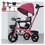 Summerjune Bicicleta de Triciclo for niños -1-3-2-6 años de Edad Cochecito de bebé Cochecito de bebé niño bebé Bicicleta (Color : Pink)