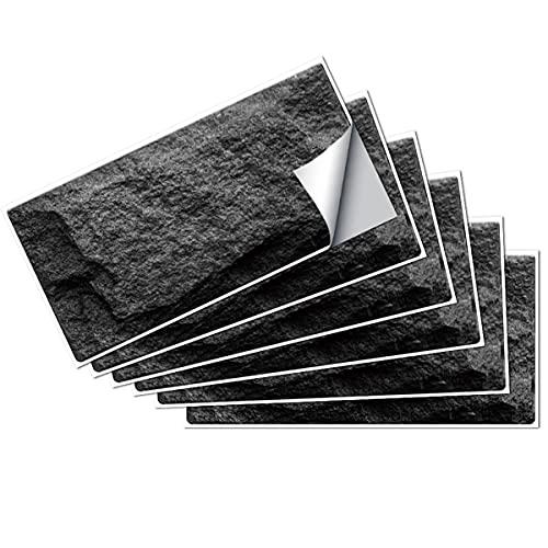 Yoillione Tile Stickers for Kitchen and Bathroom, Stone Effect Peel and Stick Backsplash Tiles Black, DIY PVC Waterproof Metro Vintage Self Adhesive Splashback Wall Tile Stickers for Wall Decor