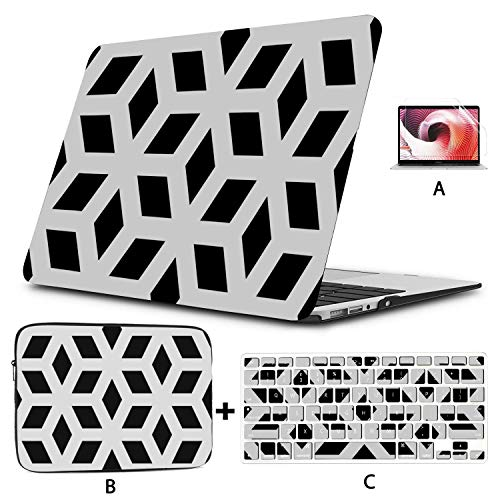 Macbook Accessories 13 Inch Black White Diamond Shape Ornament Macbook Assessories Hard Shell Mac Air 11'/13' Pro 13'/15'/16' With Notebook Sleeve Bag For Macbook 2008-2020 Version