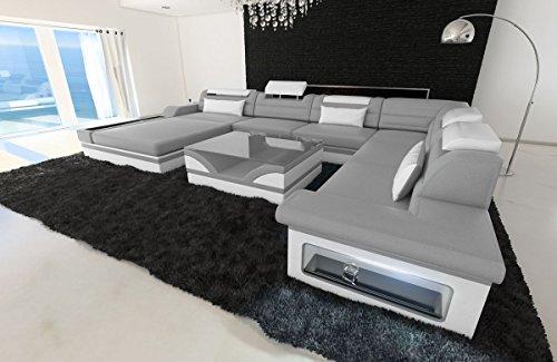 Sofa Dreams XXL Wohnlandschaft Mezzo grau-Weiss