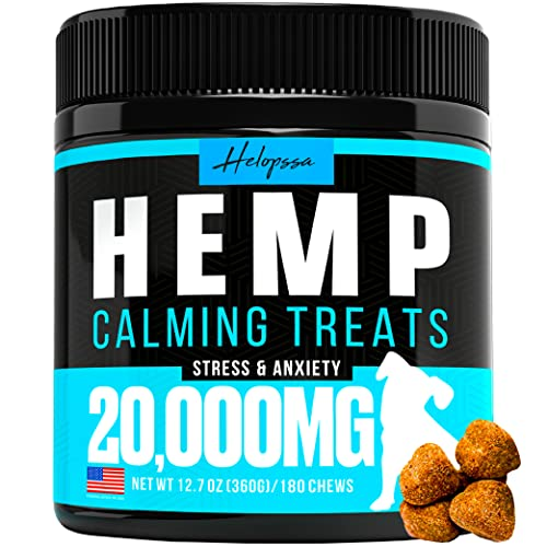 Hemp Calming Chews for Dogs with Anxiety and Stress - Made in USA - 180 Soft Dog Calming Treats - Storms, Barking, Separation - Valerian Root,...
