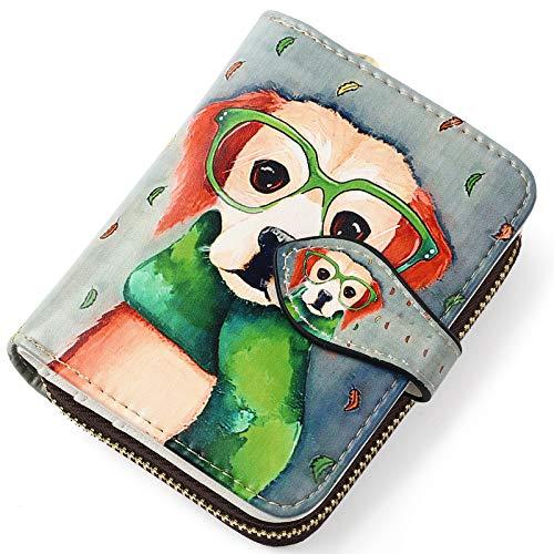 APHISON レディース カードケース じゃばら 財布 スキミング防止 クレジットカードケース 磁気防止 花柄 可愛い ギフト 589-1 (メガネ犬012)