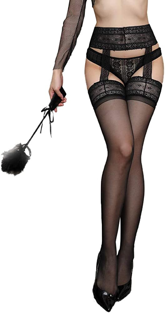 Cocobla Women Thigh High Stocking Lace Sheer Suspender Pantyhose with Garter Belt Tights