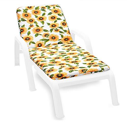 Cojín para tumbona universal con girasoles, plegable, para piscina, playa, jardín. Tela de algodón. Modelo Lima