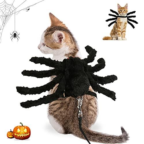 Disfraz De Halloween del Gatos Perros, Disfraz araña,Araña De Disfraces De Perro Ropa para Perros y Gatos,Ajustable,para Halloween, Cosplay,decoración de Fiesta,Apto para Cachorros y Gatitos.(Araña)