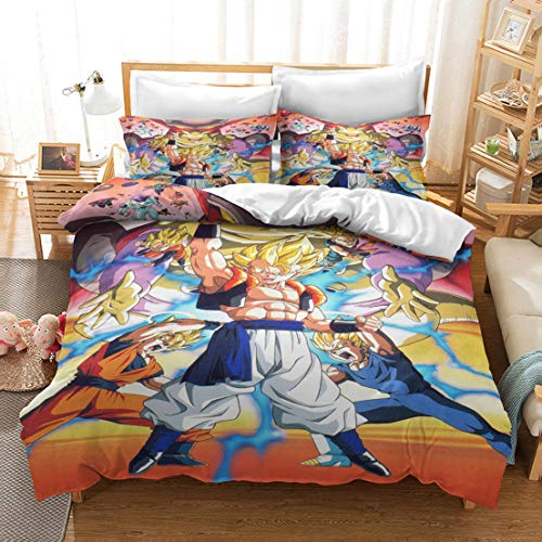 MODRYER 3D Dragon Ball Z Goku Bedding Set Soft Lightweight Printed Duvet Cover Set With 2 Pillowcase Zipper Closure For Kids Child Adult,11-EU/Super king 260x220cm