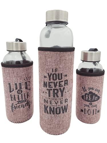Pack 3 Botellas de Cristal Con Funda Neopreno Gris 600ml 400ml 300ml Sin BPA Motivacional Deporte Gimnasio Reutilizable