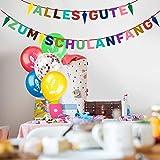 iZoeL Schuleinführung Schulanfang Einschulung Banner Deko Alles Gute Zum Schulanfang Filz Girlande + 15 Konfetti Luftballon für Junge Mädchen - 7