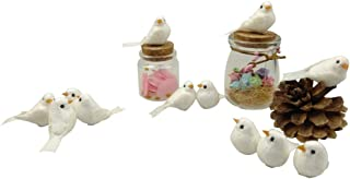 MOMOONNON 24PCS Artificial Small Fake Decorative Foam White Simulation Birds for DIY Crafts Home Garden Ornaments