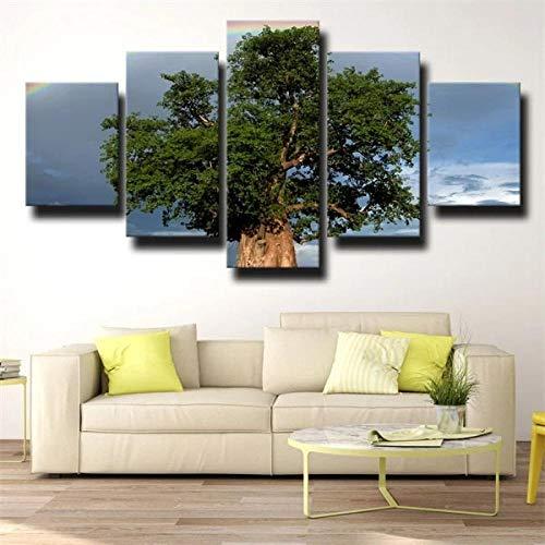TOPRUN Cuadro Moderno En Lienzo 5 Piezas XXL Baobab árbol Verde Cielo HD Abstracta Pared Imágenes Modulares Sala De Estar Dormitorios Decoración para El Hogar 150X80Cm