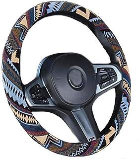Xihaoer Ethnischen Stil Grob Flachs Tuch Automotive Lenkradbezug Anti Slip und Schweißabsorption für Frauen Boho (Braun)