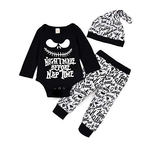 Halloween Baby Boy Girl Clothes 3Pcs Outfit Set Nightmare Before Christmas Funny Long Sleeve Romper+Skull Halloween Pumpkin Letter Pattern Pants+Hat Outfit (Romper Outfit, 12-18 Months)
