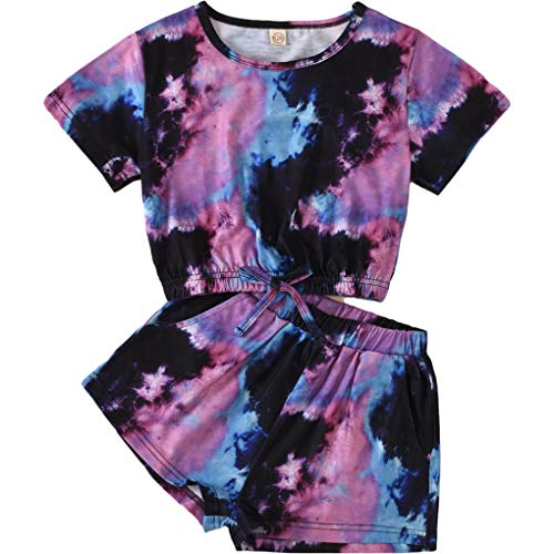 2PCS Toddler Kids Girls Summer Clothes Set Tie-Dye Print Short Sleeve Pullover T-Shirt Top+Elastic Waist Shorts Pants Outfits (Purple, 6-7 Years)