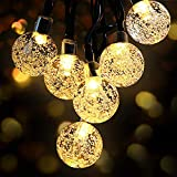 OMERIL Solar String Lights, 26ft Outdoor Garden Lights Solar/USB Powered, Waterproof 50 LEDs Crystal Ball Decorative Light for Tree, Patio, Yard, Wedding, Party, Indoor/Outdoor, Warm White