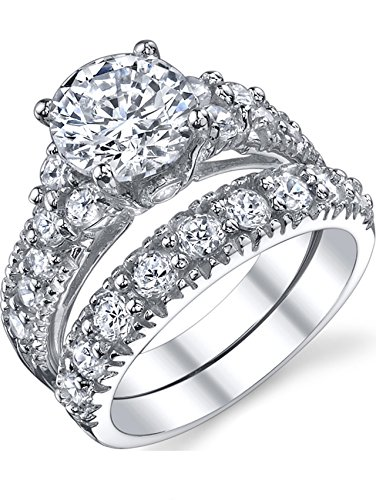 Ultimate Metals Co. Solid Sterling Silver 925 Engagement Ring Set Bridal Rings Cubic Zirconia Size J 1/2