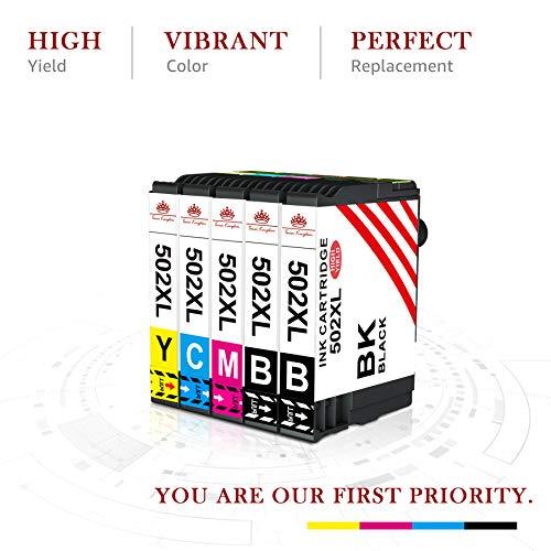 Toner kingdom Cartucho de Tinta de Repuesto para Epson 502XL Compatible con Epson Workforce WF-2860DWF,WF-2865DWF,Epson Expression Home XP-5100, XP-5105(2 Negro, 1 Cian, 1 Magenta, 1 Amarillo)